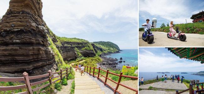 수월봉에는 해안절벽과 쉽게 거닐 수 있는 트레킹 코스가 이어져 있다. 전기자전거를 이용하면 특별한 경험을 할 수 있다. [박해윤 기자]