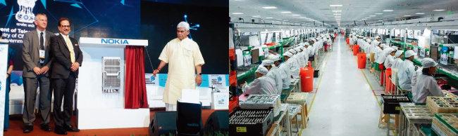 핀란드 노키아가 인도에서 처음으로 5G 통신장비를 선보이고 있다(왼쪽). 인도 노동자들이 자국 내 중국 샤오미 공장에서 스마트폰을 제작하고 있다. [사진 제공 · 노키아, INDIAN EXPRESS]
