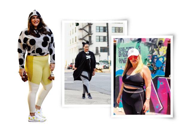 인터넷에서는 레깅스로 애슬레저 룩을 선보이는 여성들의 사진을 많이 볼 수 있다. 영국 인플루언서 케이티 스투리노, 미국 플러스 사이즈 모델 로셀 존슨과 알렉사 펠리스(왼쪽부터). [블로그 The12ishStyle, 블로그 beauticurve, 인스타그램 @Alexa Phelece]