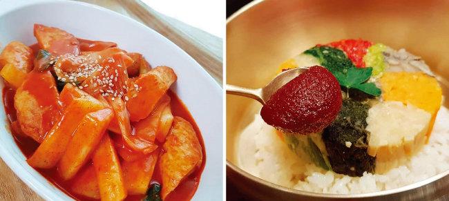 토마토 고추장으로 만든 떡볶이(왼쪽)와 비빔밥. [사진 제공·김민경]
