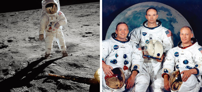 달표면을 걷고 있는 올드린. 그의 헬멧 선바이저를 자세히 보면 카메라를 든 암스트롱이 비친다(왼쪽). 아폴로 11호의 3인방 닐 암스트롱, 마이클 콜린스, 버즈 올드린(왼쪽부터). [NASA]