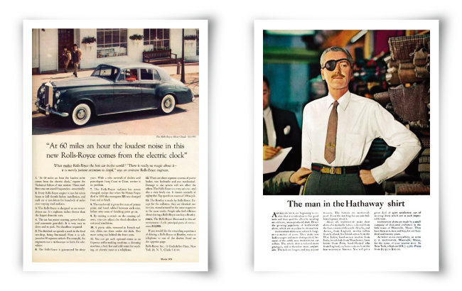1960년 오길비의 롤스로이스 지면 광고(왼쪽)와 1951년 해서웨이 셔츠 지면 광고. [ⓒRolls Royce, ⓒHathaway]