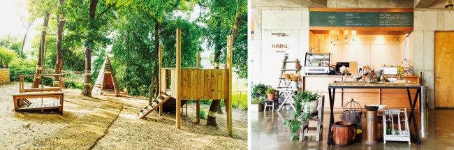 '옳은휴식 하루'의 숲속 놀이터(왼쪽)와 카페. 이덕재 사장은 자신의 조부모와 부모가 사용하던 옛 물건들을 인테리어 소품으로 활용하고 있다. [김도균, 오성균]