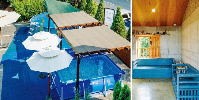'옳은휴식 하루'의 수영장(왼쪽)과 객실 내 소파 공간. [김도균]