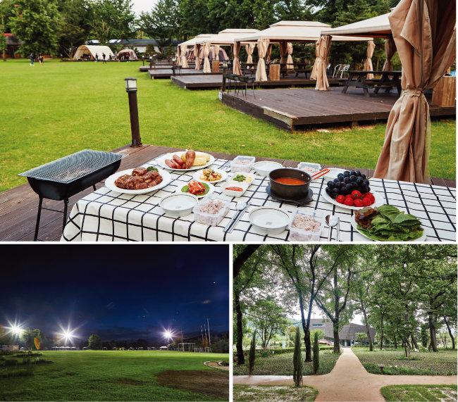 경기 일산 '플랜테이션'은 바비큐 식사를 할 수 있는 카바나를 대여해준다(위). 손님들은 플랜테이션의 넓은 잔디밭과 숲, 정원에서 한가로이 시간을 보낼 수 있다. [사진 제공 · 플랜테이션]