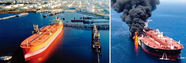 초대형 유조선이 미국 항구의 원유터미널에서 원유를 선적하고 있다(왼쪽). 노르웨이 유조선이 페르시아만 인근 오만해에서 피격돼 검은 연기가 치솟고 있다. [ISNA 통신]