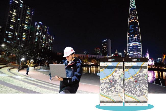 KT가 4월 1일 5G 전파 송출과 함께 서울 잠실 롯데월드타워 서울스카이 전망대에서 KT 5G 1호 가입자가 탄생했다고 밝혔다. 5G 상용 주파수 송출을 기념해 외벽에 불빛으로 '5G 시대 개막'이라는 문구를 밝힌 롯데월드 타워의 모습. [사진 제공 · KT, 벤치비 캡처]