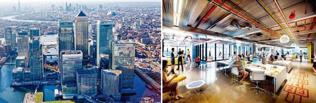 세계 최대 핀테크 육성기관으로 유명한 영국 런던 '레벨39' 외관(왼쪽)과 내부. [사진 제공 · L39]