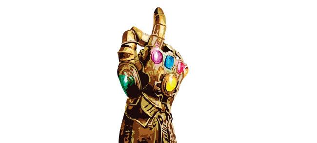 6개의 돌, 즉 인피니티 스톤을 장착한 '인피니티 건틀릿(Infinity Gauntlet)이라고 부르는 타노스의 장갑. 리얼리티 스톤은 '현실 조작'이라는 강력한 힘을 가진 스톤이다. 이 리얼리티  스톤이 루비를 연상케 하는 빨간색이다. [픽사베이 이미지 사이트]
