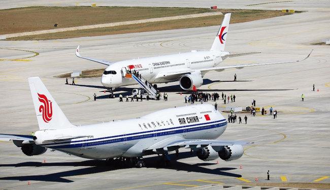 중국 항공사들이 다싱국제공항에서 시험비행을 준비하고 있다. [VCG]