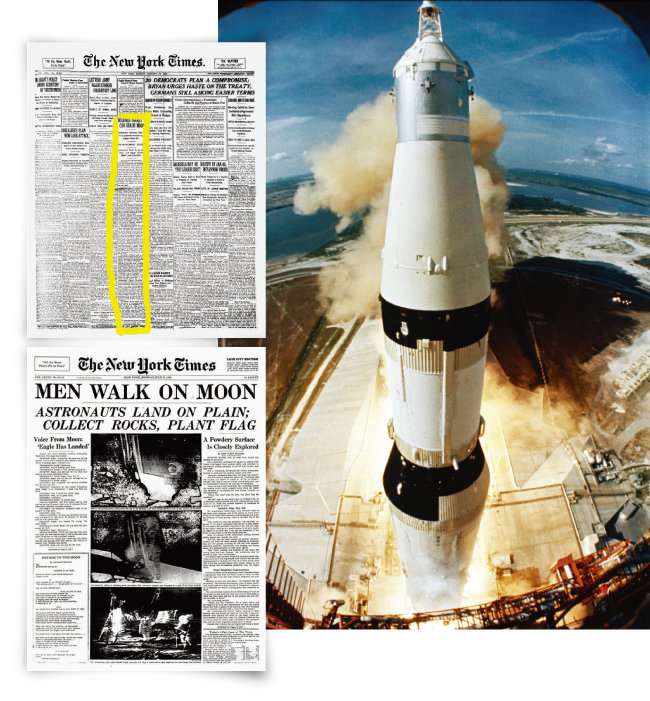 미국 '뉴욕타임스'는 아폴로 11호(오른쪽)가 성공적으로 발사된 다음 날인 1969년 7월 17일, 49년 전 로버트 고더드를 폄하한 사설(맨 위)에 대해 정정기사와 함께 사과문을 발표했다. [뉴욕타임스, 사진 제공·NASA]