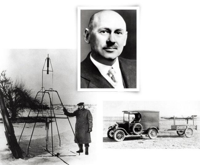 100년 전 달 탐사 가능성을 제시한 로버트 고더드. 고더드가 자신의 발명품인 액체 추진 로켓을 발사대에 설치하고 있다. 포드 트럭으로 로켓 발사대를 이동시키고 있는 고더드(위부터). [사진 제공·NASA]