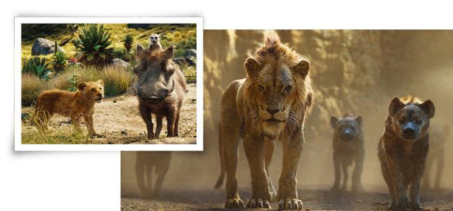 애니메이션 '미녀와 야수'(2017)와 '알라딘'(2019)이 실사 영화로 제작돼 큰 성공을 거둔 데 이어 역시 실사 영화인 '라이온 킹'에 관객이 어떤 평가를 내릴지 주목된다. [사진 제공 · 월트 디즈니사]