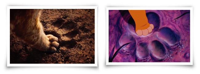 실사영화 '라이온 킹'에서 심바가 무파사의 발자국(왼쪽)을 밟는 장면과 애니메이션 '라이온 킹'의 같은 장면. [월트디즈니컴퍼니코리아]