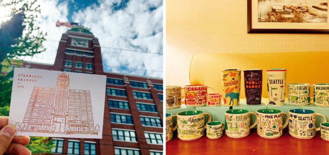 스타벅스 마니아 문서호 씨는 이번 여름휴가 때 '스타벅스 투어'를 다녀왔다. 미국 시애틀 스타벅스 본사를 방문해 찍은 인증샷(왼쪽)과 미국에서 사온 스타벅스 머천다이즈 상품들. [사진 제공·문서호]