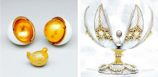 파베르제가 만든 첫 번째 '암탉 달걀'(왼쪽)과. 진주 달걀. [파베르제 홈페이지]