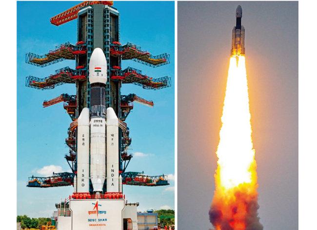 인도의 무인 달 탐사위성 찬드라얀 2호(왼쪽)와 발사 모습. [ISRO 홈페이지]
