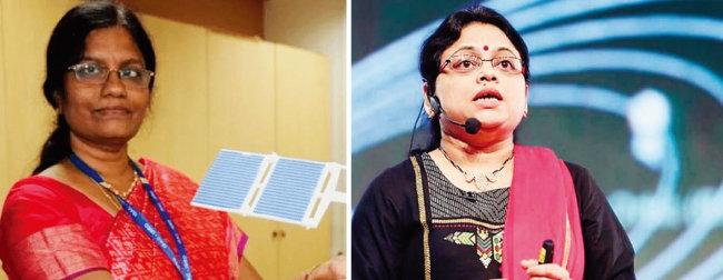 인도 찬드라얀 2호 프로젝트 총책임자인 무타야 바니타 인도우주연구기구 국장(왼쪽)과 찬드라얀 2호 프로젝트의 실무 책임자인 리투 카리드할 인도우주연구기구 국장. [The Hindu]