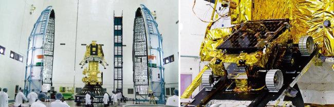 인도 과학자들이 찬드라얀 2호에 탑재될 달 착륙선 비크람을 조립하고 있다(왼쪽). 달 표면을 탐사할 로버 프라그얀의 모습. [ISRO 홈페이지]