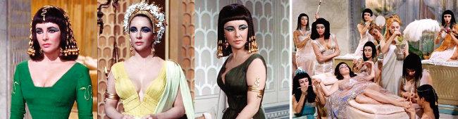 고대 이집트를 현실에 옮겨놓은 것 같은 클레오파트라의 화려한 의상과 메이크업, 그리고 그의 몸을 치장한 장신구들. 영화 '클레오파트라'는 1964년 36회 아카데미 시상식에서 '의상상' '미술상' '시각효과상' '촬영상' 수상으로 4관왕에 올랐다(왼쪽). 클레오파트라의 몸치장을 돕는 시녀들의 장신구에서도 녹색 계열 보석을 확인할 수 있다. [영화 '클레오파트라' 화면 캡처]
