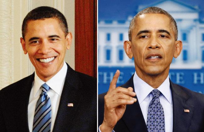 2009년 취임 초기(왼쪽)와 2017년 1월 버락 오바마 전 미국 대통령의 모습. [AP=뉴시스]