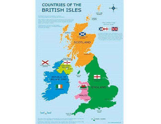 영국(그레이트 브리튼과 북아일랜드 연합왕국) 지도.