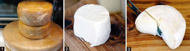 1 '상남치즈'의 시그니처 치즈인 상남치즈. 2 언제 먹어도 맛 좋은 시방치즈. 3 짧게 숙성시킨 카망베르치즈. [사진 제공·김민경]