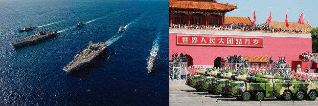 미국 레이건호와 스테니스호 등 항모 2척이 지난해 11월 남중국해에서 훈련하고 있는 모습(왼쪽). 중국이 건군절에 대함탄도미사일 DF-21D를 선보이고 있다. [US Navy, china.mil]