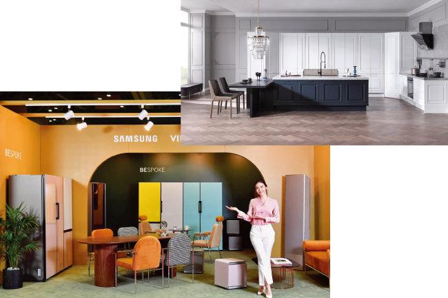 온라인 '인테리어 카페'를 뜨겁게 달구고 있는 삼성전자 냉장고 '비스포크'(왼쪽)와에넥스가 선보이고 있는 커스터마이징 주방 시스템 '키친 팔레트 시리즈'. [사진 제공 · 삼성전자, 사진 제공 · 에넥스]