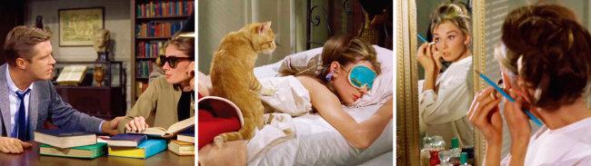 티파니 블루는 영화 '티파니에서 아침을'의 시작부터 끝까지 곳곳에 등장해 오드리 헵번과 완벽한 조화를 보여준다. [영화 '티파니에서 아침을' 화면 캡처]