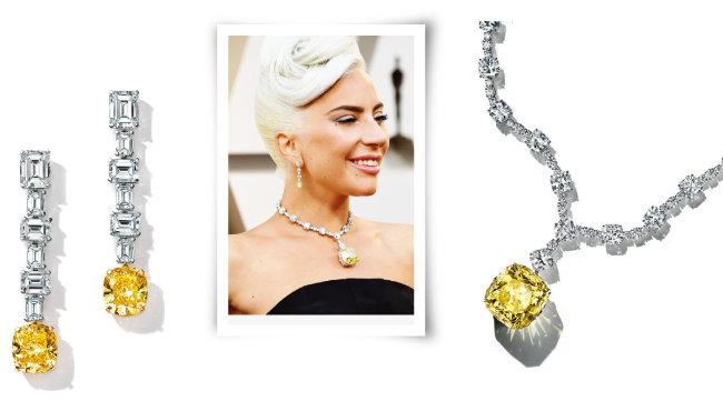 티파니 다이아몬드가 세팅된 목걸이를 착용한 레이디 가가. [사진 제공 · 티파니]