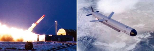 러시아군이 2017년 12월 핵추진 순항미사일 9M730 부레베스트니크를 시험발사하고 있다(왼쪽). 러시아의 핵추진 순항미사일 부레베스트니크가 비행하는 모습. [mil.ru, 러시아 1 방송]