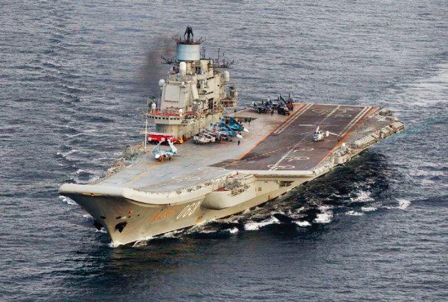 러시아의 유일한 항공모함 아드미랄 쿠즈네초프의 모습. [러시아 국방부]
