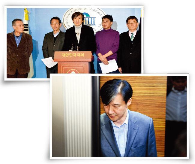 2012년 12월 5일 대선을 얼마 앞둔 시점에 문재인 당시 민주통합당 후보를 지원하기 위해 '국민연대'를 제안하는 조국 서울대 법학대학원 교수(위 사진 가운데)와 우석훈 박사(위 사진 오른쪽에서 두 번째).  검찰이 조국 법무부 장관 후보자를 둘러싼 의혹과 관련된   30여 개 기관을 압수수색한  8월 27일 오후 조 후보자가 인사청문회 준비단 사무실이 있는 서울 종로구 적선현대빌딩으로 출근하고 있다. [뉴시스, 박영대 동아일보 기자]
