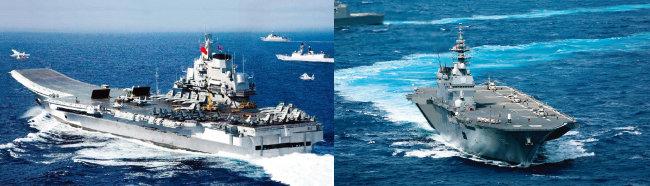 중국 해군 항공모함 랴오닝호가 대만해협을 통과하고 있다(왼쪽). 일본이 경항모로 개조할 헬기 탑재 호위함 이즈모호. [PLAN, JSMDF]