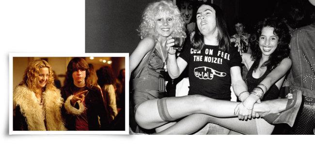 1970년대 록밴드와 그루피를 그린  영화 '올모스트 페이머스'의 한장면과 1973년 미국 로스앤젤레스에서 촬영된 세이블 스타와 영국의 록밴드 슬레이드의 기타리스트 데이브 힐, 로리 매틱스. (왼쪽부터) [IMdB, gettyimages]