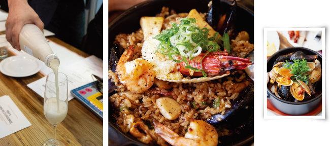 (왼쪽부터)식전주로 소개된 복순도가 손막걸리, 간장을 사용한 한국식 '해산물 빠에야', 먼저 스튜로 맛본 뒤 남은 국물에 파스타 면을 볶아 먹는 '토마토 파스튜'.