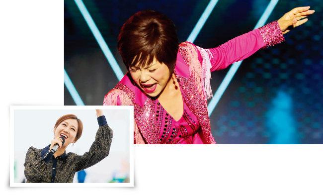 가수 장윤정(왼쪽). '아모르 파티'를 열창하는 김연자. [뉴시스, 뉴스1]