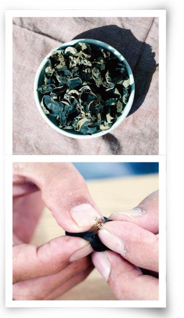말린 목이버섯(위)과 수분이 차 있는 싱싱한 목이버섯. [사진 제공 · 새암농장, 사진 제공 · 김민경]