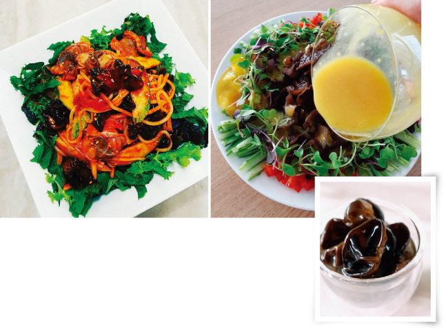 목이버섯을 활용한 요리들(위)과  눈꽃목이 피클. [사진 제공 · 새암농장, 사진 제공 · 김민경]