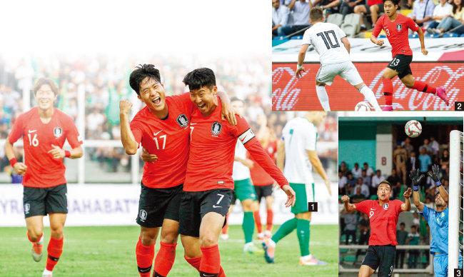 1 9월 10일 2022 카타르월드컵 아시아지역 2차 예선 한국과 투르크메니스탄의 경기에서 나상호(가운데)가 골을 넣고 손흥민과 기뻐하고 있다. 2 터키 이스탄불 파티흐 테림 스타디움에서 열린 한국과 조지아의 평가전에서 이강인이 드리블을 하고 있다. 3 9월 10일 한국과 투르크메니스탄의 경기 후반전 김신욱이 헤더를 하고 있다. [뉴스1]