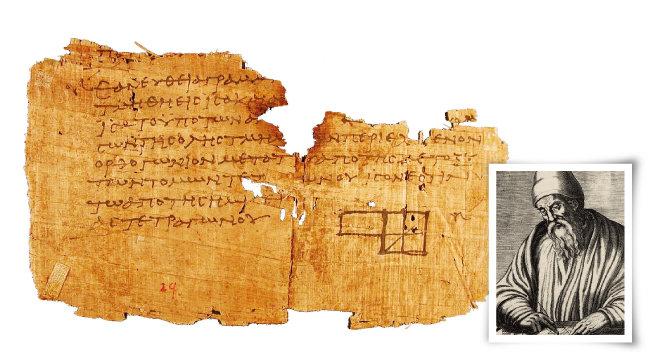 고대 그리스 수학자 유클리드(오른쪽)와 그가 집필한 '원론'의 가장 오래된 필사본. [미국 펜실베이니아대 박물관, 위키피디아]