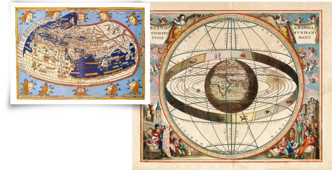 프톨레마이오스의 천동설(지구중심설)을 설명하는 지도(왼쪽)와 천체운행의 원리가 담긴 도식. [호주국립도서관]