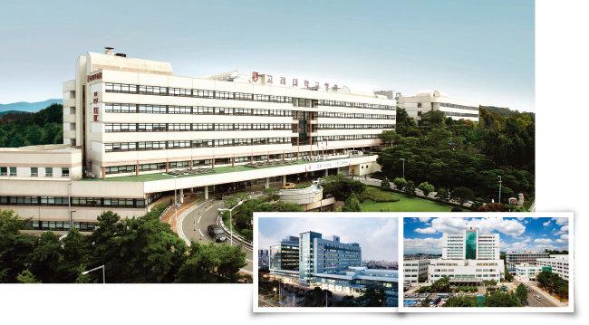 정부가 지정하는 연구중심병원에 선정돼 최고 수준의 성과를 보이고 있는 고대안암병원(위), 고대구로병원(아래 왼쪽), 고대안산병원. [사진 제공 · 고대의료원]