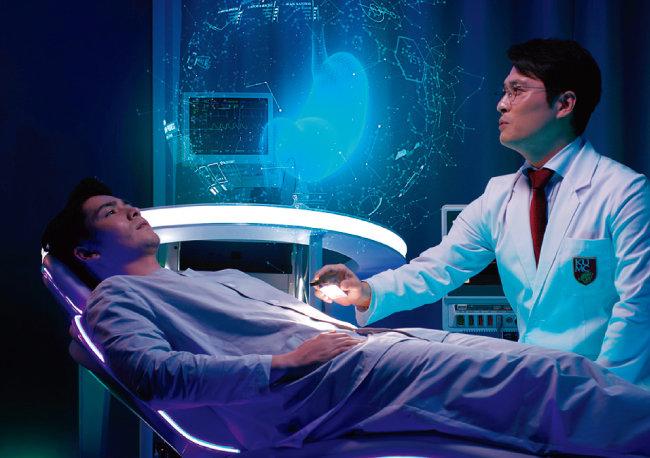 최첨단 의료기기를 사용해 건강검진을 하는 미래 의료의 모습. [자료 제공 · 고대의료원]
