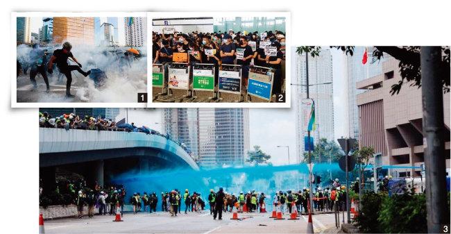 1 홍콩 시위대가 경찰이 쏜 최루탄을 발로 차고 있다. 2 홍콩 시위대가 첵랍콕국제공항에서 시위하고 있다. 3 홍콩 경찰이 정부청사 앞에서 파란색 염료가 든 물대포를 발사하고 있다. [HKFP]