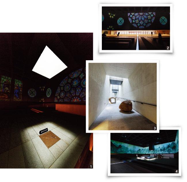 1 박물관 지하 3층 콘솔레이션 홀의 '빛의 우물'을 근접 촬영한 사진. 2 박물관 지하 3층 콘솔레이션 홀 안쪽에서 '하늘광장'을 바라본 풍경. 3 박물관 지하 3층에서 지하 2층으로 올라가는 긴 회랑의 통로 '하늘길'. 권석만 작가의 자연석 조각품인 '발아'가 설치돼 있다. 4 박물관 지하 3층 14m 지하의 어둠을 품은 콘솔레이션 홀. 지상의 채광창으로부터 흘러내려온 자연광이 빛의 우물을 만들어내고 있다. [지호영 기자, 김도균]