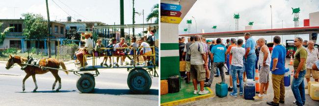 쿠바 학생들이 마차를 타고 등교하고 있다(왼쪽). 쿠바 수도 아바나의 한 주유소에 휘발유를 사려고 줄 서 있는 시민들. [위키피디아, Mecro Press]