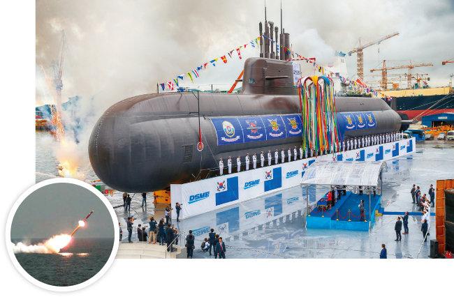 사거리 1000km 잠수함발사순항미사일(SLCM)인 해성-3(원 안)의 발사대를 6기 탑재한 3000t급의 도산 안창호급 잠수함의 진수식이 2018년에 있었다. 한국은 SLCM을 탑재한 잠수함을 실전배치했으나 북한은 아직까지 건조하지 못하고 있다. [사진 제공 · 국방부, 뉴시스]