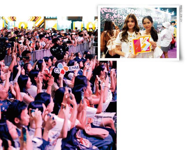 '케이콘 2019 태국' 컨벤션에서 환호하는 현지 관객들(왼쪽)과 케이팝 아이돌그룹에게 보내는 응원의 메시지 벽 앞에서 포즈를 취하고 있는 팬들. [사진 제공 · CJ ENM]
